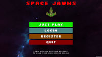 Space Jawns game start screen.